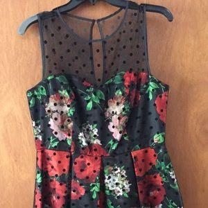 Dresses & Skirts - Black red floral cocktail dress